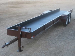 Custom built 48″ wide x 20′ long oil field pipe trailer (front)